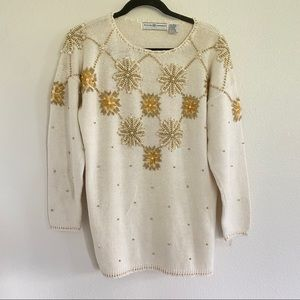 BEADED & PEARL Vintage sweater Sz L